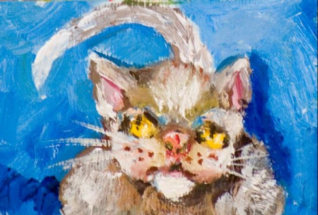 Art: Cat on Blue Aceo by Artist Delilah Smith