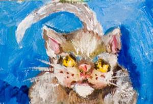 Detail Image for art Cat on Blue Aceo