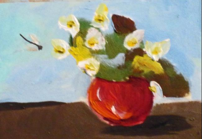 Art: Red Vase Aceo by Artist Delilah Smith