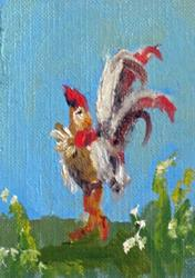 Art: Rooster with the Tail Feathers Aceo by Artist Delilah Smith