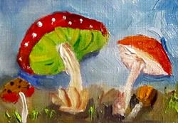 Art: Red Mushroom Aceo SOLD by Artist Delilah Smith