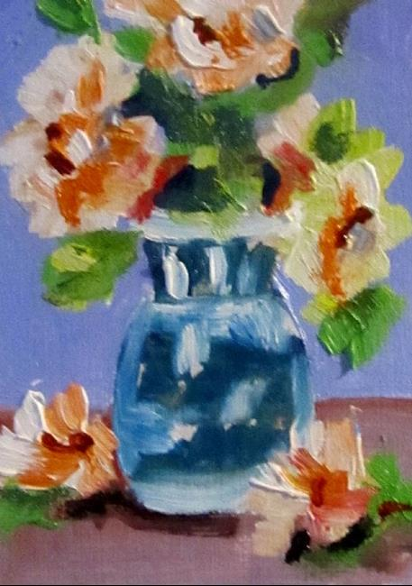 Art: Blue Vase Orange Flowers Aceo-sold by Artist Delilah Smith