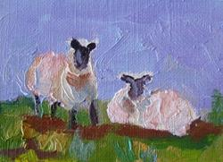 Art: Spring Lamb Aceo-SOLD by Artist Delilah Smith
