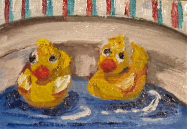 Art: Rubber Duckie Aceo-SOLD by Artist Delilah Smith