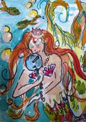 Art: Mermaid with Mirror Aceo by Artist Delilah Smith