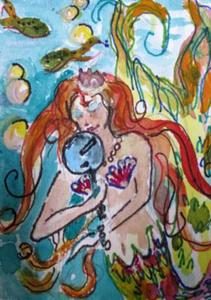 Detail Image for art Mermaid with Mirror Aceo-sold