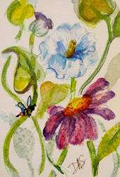 Art: Wild Flowers Aceo- SOLD by Artist Delilah Smith