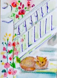 Detail Image for art Hollyhocks and Cat Aceo-sold