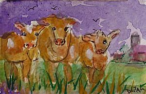Art: Cows in the Pasture ACEO by Artist Delilah Smith