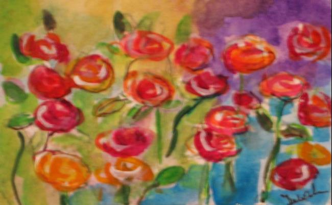Art: Rose Garden ACEO-SOLD by Artist Delilah Smith