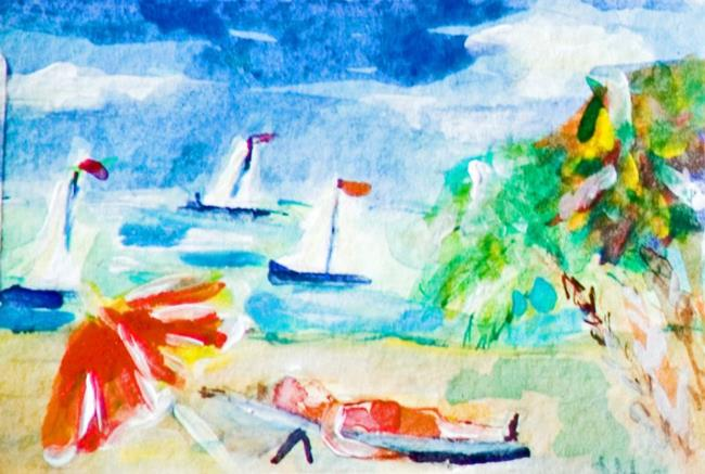 Art: Beach Day ACEO by Artist Delilah Smith