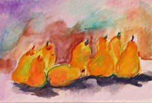 Art: Line of Pears 2 ACEO-sold by Artist Delilah Smith