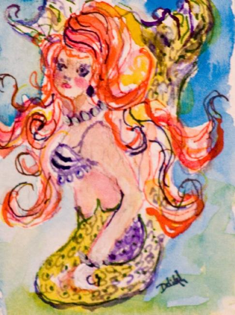 Art: Red Haired Mermaid Aceo by Artist Delilah Smith