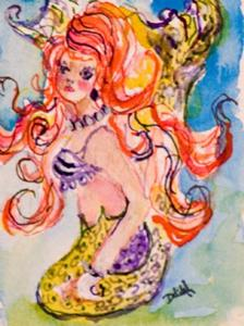Detail Image for art Red Haired Mermaid Aceo