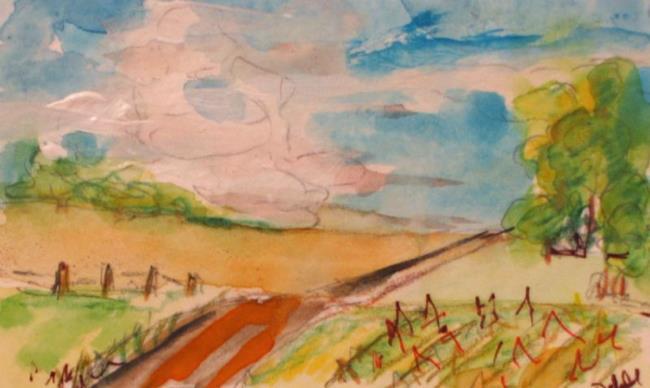 Art: Farm Fields ACEO-sold by Artist Delilah Smith