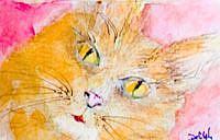 Art: Cat 2 ACEO by Artist Delilah Smith