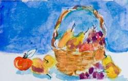 Art: Basket of Fruit ACEO by Artist Delilah Smith