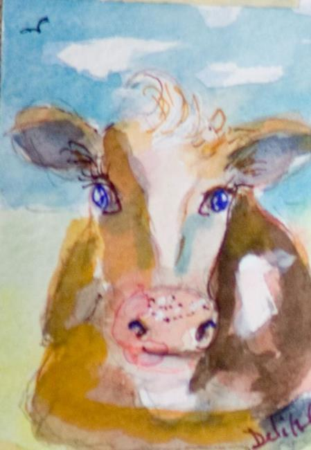 Art: Cow Aceo-sold by Artist Delilah Smith