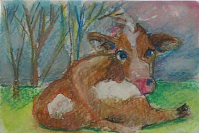 Art: Cow 3 Aceo by Artist Delilah Smith