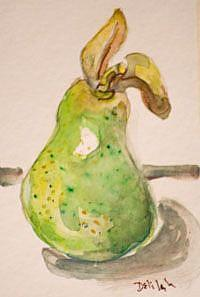 Art: Green Pear Aceo-sold by Artist Delilah Smith