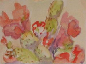 Detail Image for art Cactus in bloom, SOLD