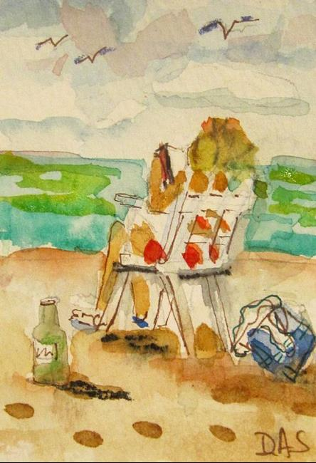 Art: Beach Read Aceo-SOLD by Artist Delilah Smith