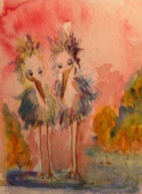Art: Two Blue Heron by Artist Delilah Smith