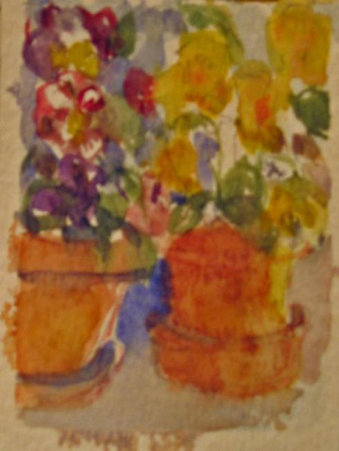 Art: Little Clay Pots, SOLD by Artist Delilah Smith