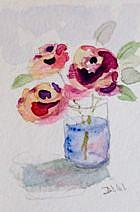 Art: Roses in Water Aceo-sold by Artist Delilah Smith