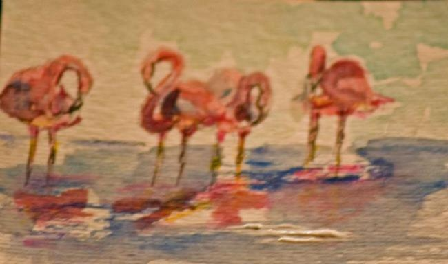 Art: Pink Flamings Aceo by Artist Delilah Smith