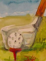Art: Golf Aceo-sold by Artist Delilah Smith