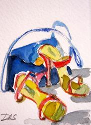 Art: Red High Heels Aceo-SOLD by Delilah Smith