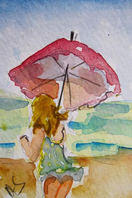 Art: A Walk On the Beach ACEO-Sold by Artist Delilah Smith