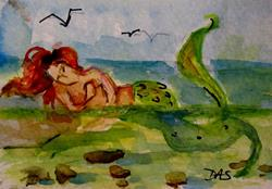 Art: Mermaid Relaxing Aceo-sold by Artist Delilah Smith