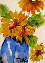 Art: Sunflowers in a Blue Vase Aceo-SOLD by Artist Delilah Smith