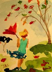 Art: Fall Wind Aceo sold by Artist Delilah Smith