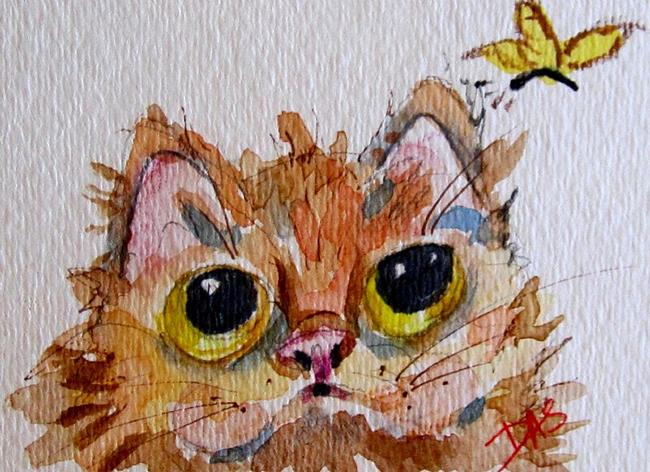 Art: Big Eyed Kitten and Butterfly-SOLD by Artist Delilah Smith