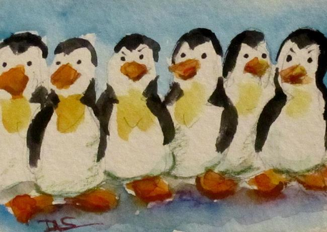 Art: Penguins Aceo-SOLD by Artist Delilah Smith