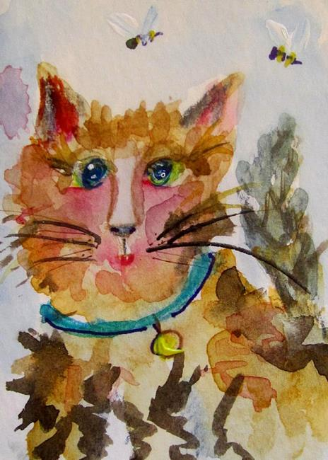 Art: Cat and Bees aceo-SOLD by Artist Delilah Smith
