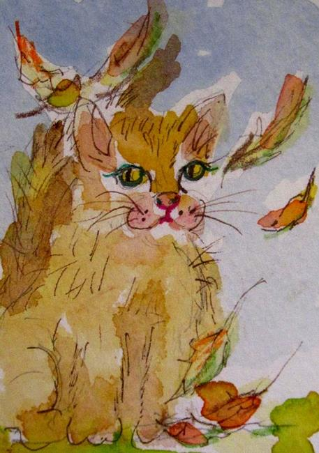 Art: Knee Deep in Fall Aceo-SOLD by Artist Delilah Smith