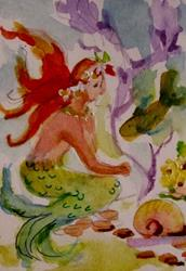 Art: Mermaid Under the Sea Aceo-SOLD by Artist Delilah Smith
