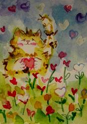 Art: Fat Cat and Valentine Garden aceo-SOLD by Artist Delilah Smith