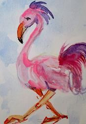 Art: Pink Flamingo Aceo-SOLD by Artist Delilah Smith