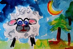 Art: Counting Sheep Aceo-sold by Artist Delilah Smith