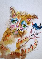 Art: Fat Cat Makes Friends Aceo-sold by Artist Delilah Smith