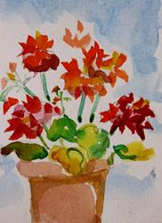 Art: Clay Pot of Geraniums Aceo-sold by Artist Delilah Smith