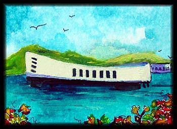 Art: USS ARIZONA MEMORIAL  HONOLULU by Artist Dottie Cooper Katz