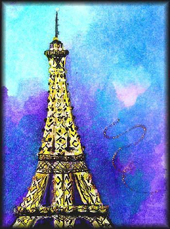 Art: EIFFEL TOWER TWILIGHT SOLD by Artist Dottie Cooper Katz