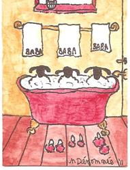 Art: Rub a Dub Dub Wooly Sheep in the Tub by Artist Nancy Denommee
