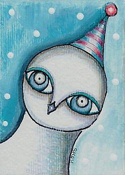 Art: White Winter Owl by Artist Sherry Key